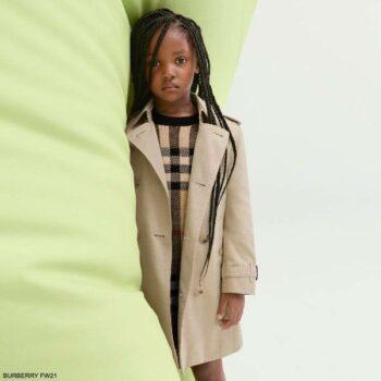 Burberry Kids Girls Beige Black Vintage Oversized Check Knitted Long Sleeve Dress