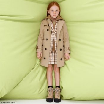 Burberry Kids Girls Beige Brown Black Check Wool Blazer Jacket Skirt