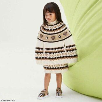 Burberry Kids Girls Mini Me Ivory Brown Fair Isle Teddy Bear Wool Cashmere Poncho