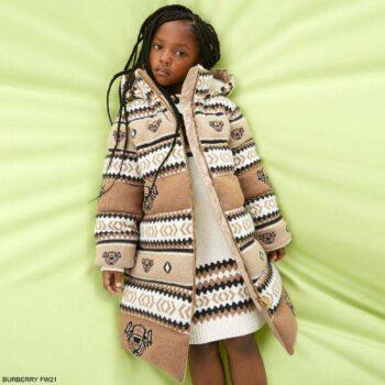 Burberry Kids Girls Mini Me Ivory Brown Fair Isle Teddy Bear Wool Coat Dress
