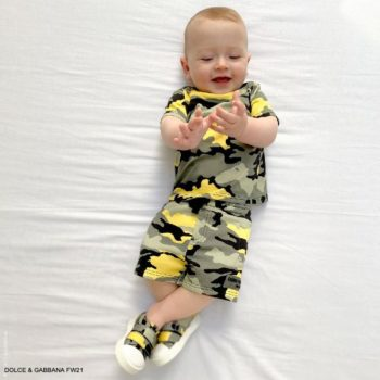Dolce Gabbana Baby Boys Khaki Green Yellow Camouflage Tshirt Shorts