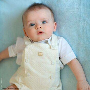 Dolce Gabbana Baby Boys White Textured Cotton Twill Gold DG Logo Shortie