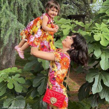 Dolce Gabbana Baby Girls Mini Me Orange Pink Gerbera Daisy Sleeveless Dress