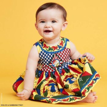 Dolce Gabbana Baby Girls Mini Me Yellow Red Blue Carretto Sleeveless Dress Set