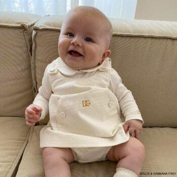 Dolce Gabbana Baby Girls Off White Textured Cotton Twill Gold DG Logo Dress Set