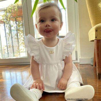 Dolce Gabbana Baby Girls White Cotton Ruffle Short Sleeve Gold DG Logo Dress