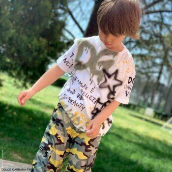 Dolce Gabbana Boys White DG Graffiti Skate Khaki Green Yellow Camouflage Pants