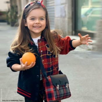 Dolce Gabbana Girls Back To School Navy Blue Red Check Wool Bomber Jacket