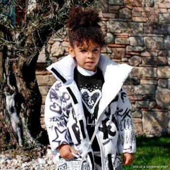 Dolce Gabbana Girls Black Heart Logo Crystals Sweatshirt White Graffiti Puffer Coat