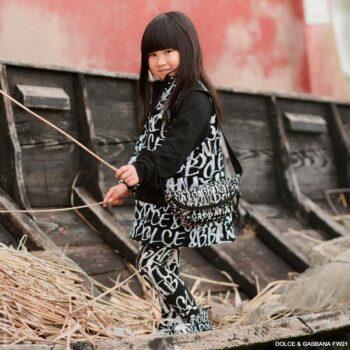 Dolce Gabbana Girls Black White Graffiti Dress Leggings