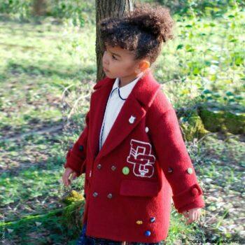 Dolce Gabbana Girls Burgundy Red Wool Back to School DG Varsity Logo Coat
