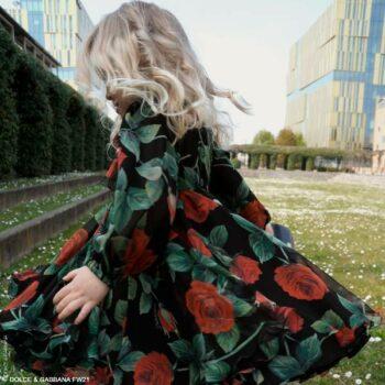 Dolce Gabbana Girls Mini Me Black Red Rose Print Silk Long Sleeve Dress