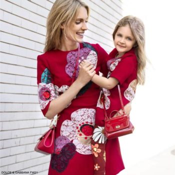 Dolce Gabbana Girls Mini Me Red Wool Pink Floral Lace Patch Short Sleeve Dress Red Leather Purse