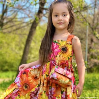Dolce Gabbana Girls Orange Pink Gerbera Daisy Long Sleeveless Dress
