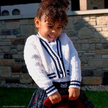 Dolce Gabbana Girls White Blue Knit Cardigan Sweater Algebra Tulle Skirt
