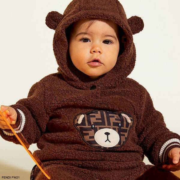 Fendi Baby Brown Teddy FF Logo Fleece Hoodie Boucle Shorts