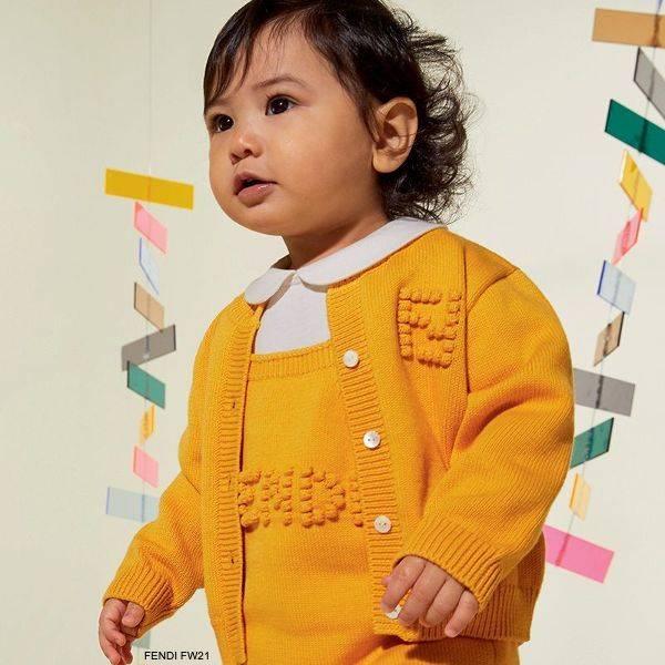 Fendi Baby Girl Boy Yellow White Knit Cotton Cashmere Overall Set Cardigan Sweater