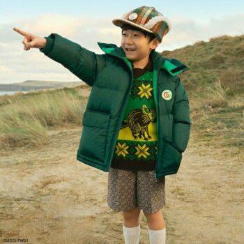 Gucci Boys Green GG Logo Puffer Coat Freya Hartas Wool Sweater