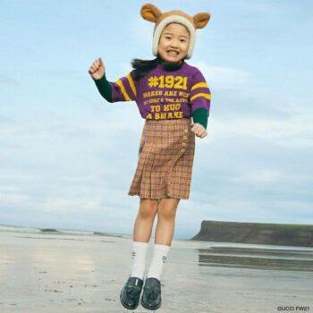 Gucci Girls Purple Snake Shirt Orange Check Wool Skirt