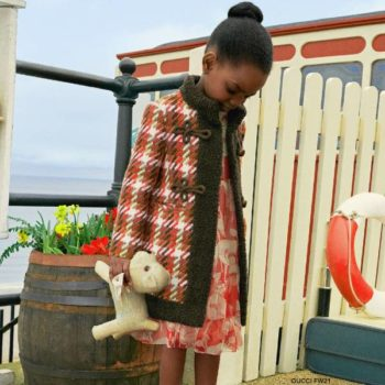 Gucci Girls Red Check Vintage Wool Coat Silk Red Poppy Dress