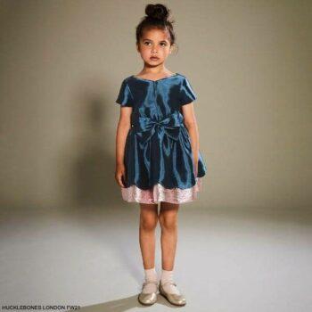 Hucklebones London Girls Blue Bow Pink Glitter Scalloped Short Sleeve Party Dress