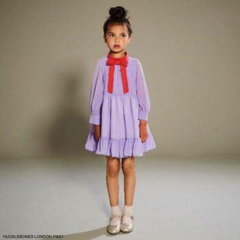 Hucklebones London Girls Lilac Purple Red Bow Chiffon Long Sleeve Party Dress