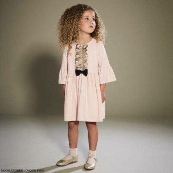 Hucklebones London Girls Pink Gold Bow Lame Ruffle Long Sleeve Party Dress