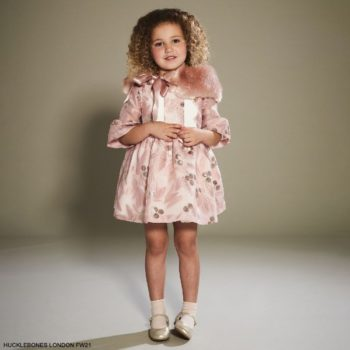 Hucklebones London Girls Pink Rose Leaf Gold Organza Party Dress Faux Fur Collar