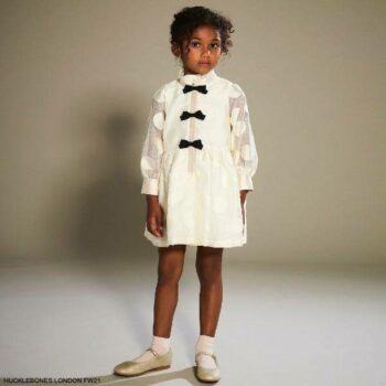 Hucklebones London Girls ivory Navy Blue Bows Long Sleeve Organza Party Dress