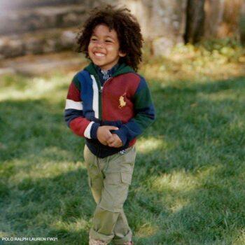 Polo Ralph Lauren Boys Blue Red Green Stripe Zip Up Hooded Sweatshirt