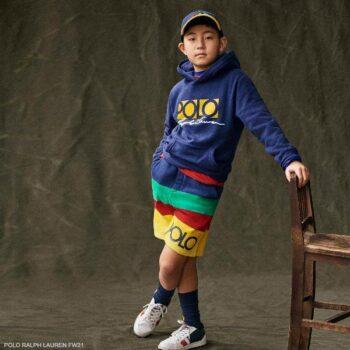 Polo Ralph Lauren Boys Blue Yellow Logo Hoodie Sweatshirt Rainbow Stripe Shorts