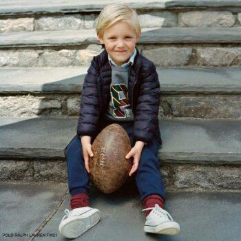 Polo Ralph Lauren Boys Mini Me Navy Blue Puffer Jacket Back to School