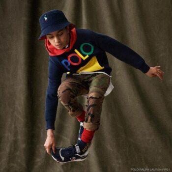 Polo Ralph Lauren Boys Navy Blue Colorful Logo Hoodie Sweatshirt Camo Pants
