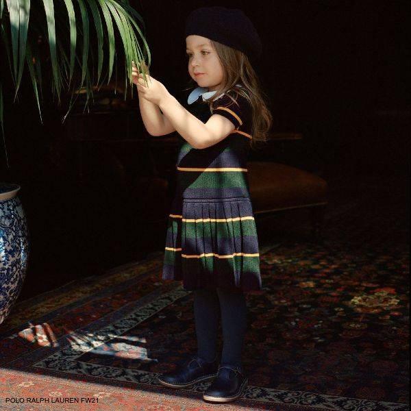 Polo Ralph Lauren Girls Green Blue Yellow Stripe Wool Knit Short Sleeve Dress