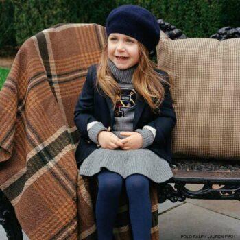 Polo Ralph Lauren Girls Grey P Logo Turtleneck Knitted Wool Dress Navy Blue Blazer Jacket