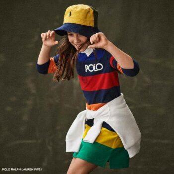 Polo Ralph Lauren Girls Rainbow Stripe Long Sleeve Polo Shirt Dress