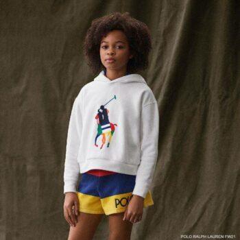 Polo Ralph Lauren Girls White Colorful Big Pony Logo Hoodie Sweatshirt Stripe Shorts