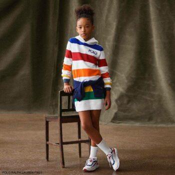 Polo Ralph Lauren Girls White Multicolor Striped Hooded Sweatshirt Dress