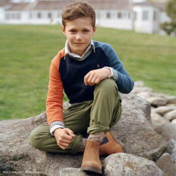 Polo Ralph Lauren Teen Boys Blue Orange Multi Color Knit Wool Sweater