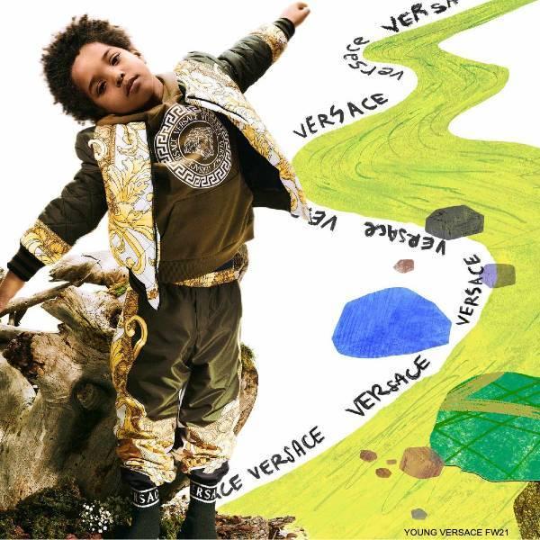 Young Versace Boys Khaki Green Gold Medusa Renaissance Bomber Jacket Pants