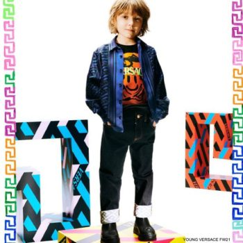 Young Versace Boys Mini Me Black Orange Medusa Smiley T-shirt La Greca Silk Shirt