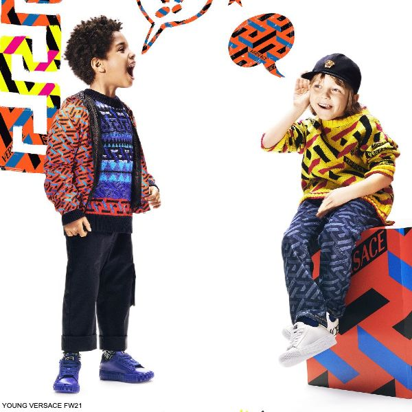 Young Versace Boys Mini Me Yellow La Graca Wool Knit Sweater Blue Pattern Jeans