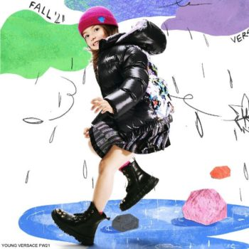 Young Versace Girls Black Greca Neon Pleated Skirt Logo Puffer Jacket