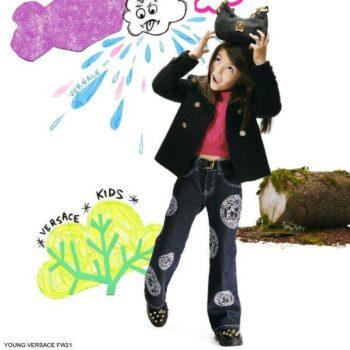 Young Versace Girls Blue Flared Denim White Medusa Logo Jeans Pink Wool Sweater