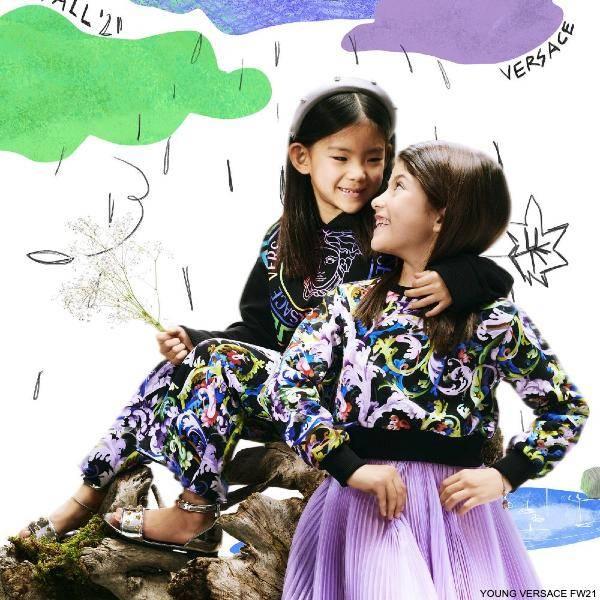 Young Versace Girls Multicolor Baroccoflage Sweatshirt Purple Pleated Organza Skirt