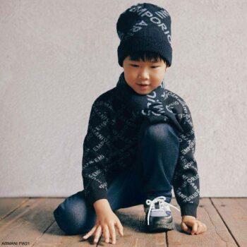 Emporio Armani Boys Navy Blue Criss Cross Logo Soft Knit Wool Sweater Scarf Hat