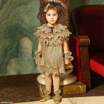 Junona Baby Girls Gold Glitter Pleated Ruffle Black Bow Party Dress