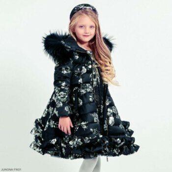 Junona Girl Navy Blue Silver Floral Down Puffer Hooded Fur Trim Dress Coat