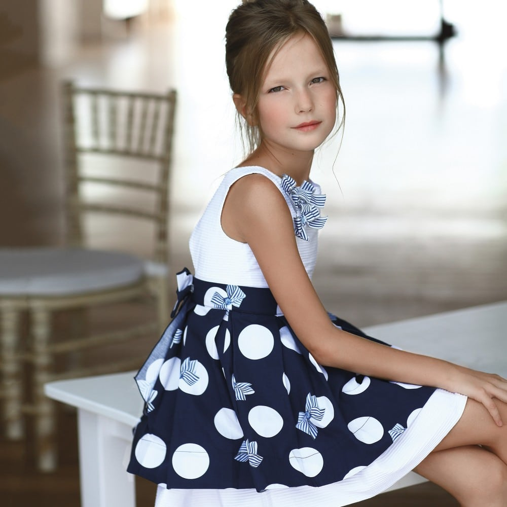 LAPIN HOUSE Girls Navy Blue & White Dress