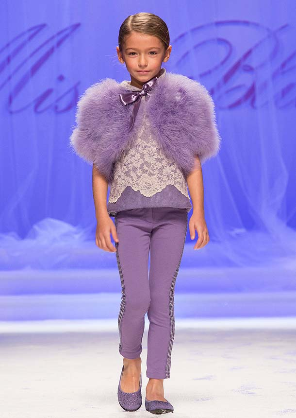 MISS BLUMARINE girl purple fur bolero fall winter 2014